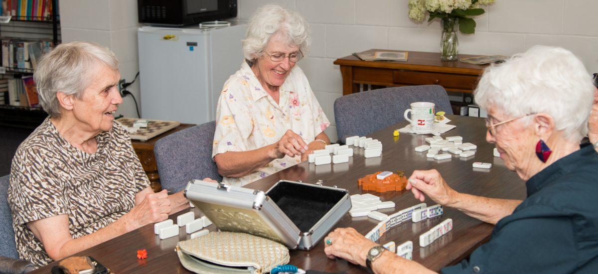 Seniors playing games at Keystone senior center