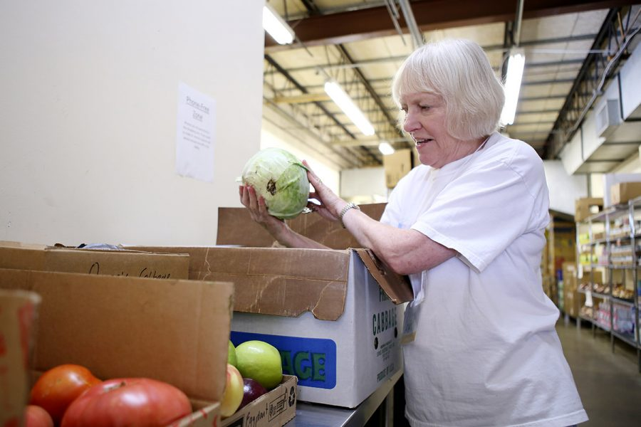 Woman volunteering at food shelf