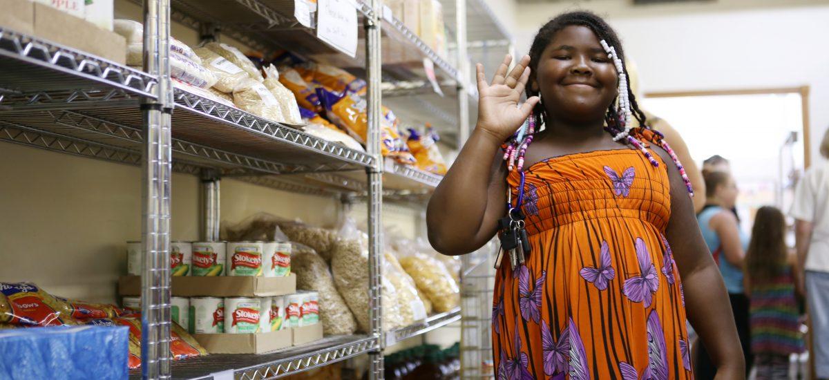 Girl at food shelf